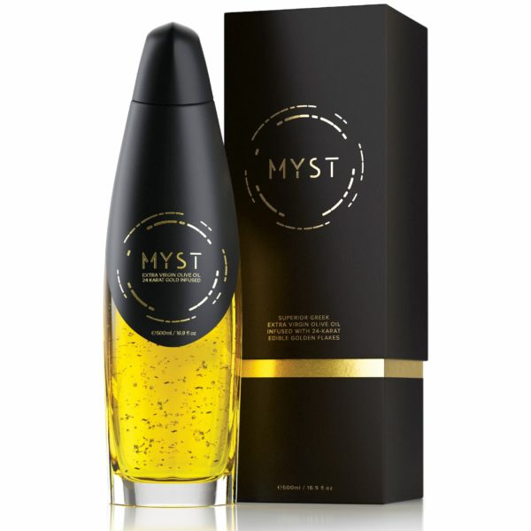 Extra Virgin Olive Oil with 24K Gold – MYST GOLD - Bottle and Packaging
